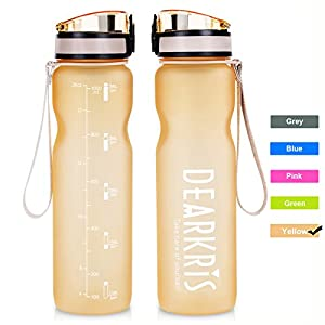 Time Marked Large Sport Water Bottle 1L 36oz, Simple Modern BPA Free Tritan Water Bottle for Women Men (Yellow)