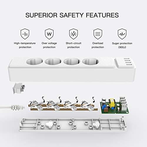 Steckdosenleiste, Mehrfachsteckdosen mit Überspannungschutz(10A/2500W), 4 Fach 4 intelligente USB Ladebuchsen(5V, total 3.4A), 45° Anordnung, Steckerleiste Wandmontagebar für Zuhause, Büro, Weiß,2M