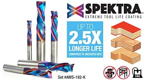 AMS-182-K 5Piece Spektra Extreme Tool Life Coated Compression Spiral CNC Rou Amana Tool