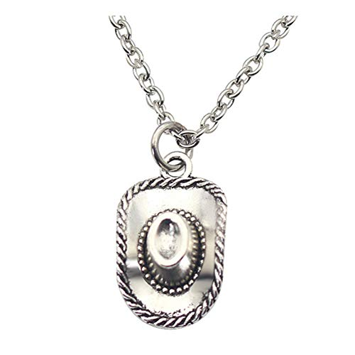 925 Sterling Silver Plated Cowboy Hat 3D Cap Charm Pendant Necklace ()