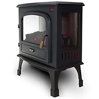 Della 1500W Electric Stove Heater 25 Inch Portable Fireplace Freestanding Log Wood w/ Remote Control