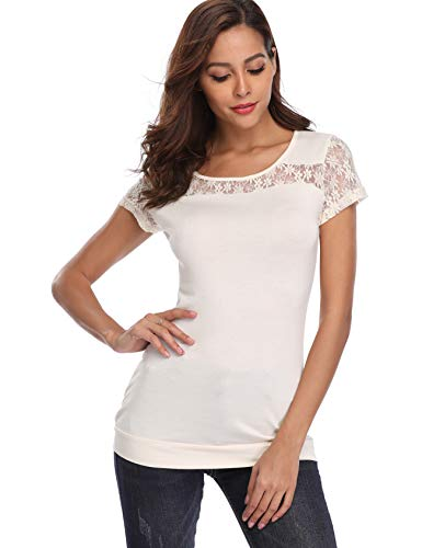 MISS MOLY Short Sleeve Tops for Women Round Neck Lace Patchwork Blouse Off-White X-Large (Top White Round Off)
