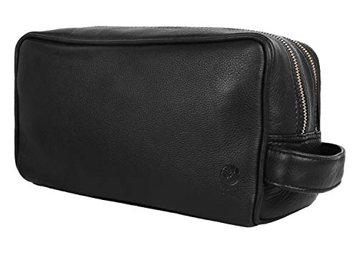 Genuine Leather Travel Toiletry Bag - Dopp Kit Organizer By Rustic Town (Black) (Leather Toilet Bag)