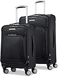 Solyte DLX Softside Expandable Luggage with Spinner Wheels, Midnight Black, 2-Piece Set (20/25)