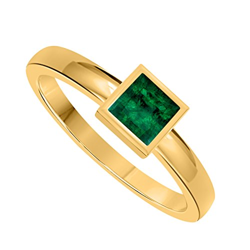 - Classic 1.00 Ct Princess Cut Lab Created Green Emerald Bezel Set 14K Yellow Gold Solitaire Engagement Ring