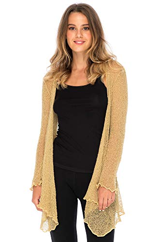 Back From Bali Womens Long Lightweight Sheer Cardigan Hoodie Open Front Hooded Knit Sweater Long Sleeve Natural
