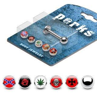 Skull Labret - Labret Monroe Lot Assorted Marijuana Skull Cross Balls Bonus Package w/1 16G 5/16
