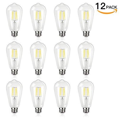 Antique LED Bulb, SHINE HAI 4W (40W Equivalent) ST64 Vintage Edison Light Bulb LED Lighting, 470 Lumen Daylight White 5000K E26 Base, Pack of - Hours Oaks 12