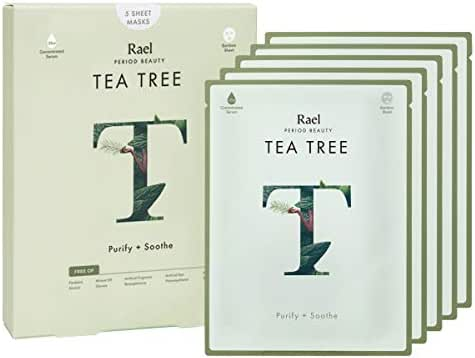 Rael Bamboo Face Sheet Mask - (Tea Tree, 5 Sheets) Fresh Forward Real Natural Facial Mask With Tea Tree Oil For Acne Prone Skin by Rael