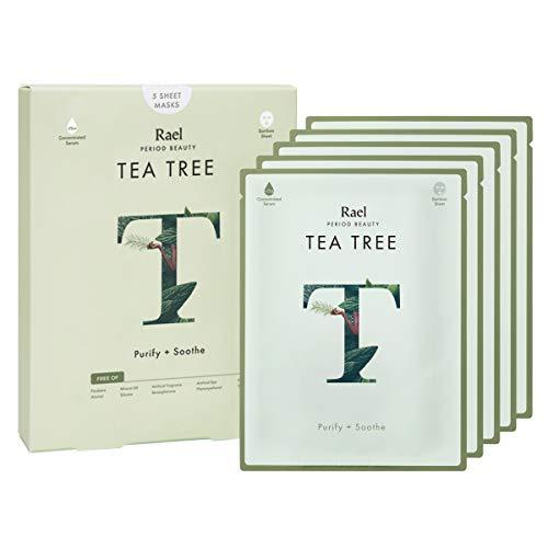 Rael Bamboo Face Sheet Mask - (Tea Tree, 5 Sheets) Fresh Forward Real Natural Facial Mask With Tea Tree Oil For Acne Prone Skin by Rael