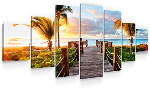 Startonight Huge Canvas Wall Art Summer Bridge Beach I