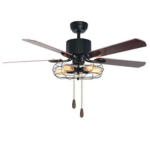 LuxureFan Retro Industrial Ceiling Fan Light for Restaurant Living Room with Create Iron Cage Cover Pull Chain and 5 Reversible Wood Leaves of 48Inch