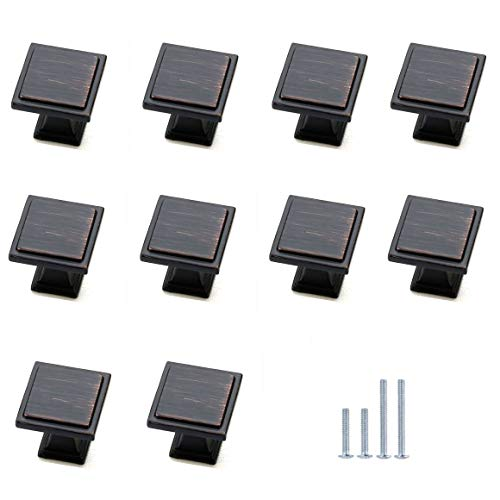 (10-Pack) HiFey Black Square Cabinet Knobs and Pulls,Oil Rubbed Bronze Finish, Widely for Kitchen and Bathroom Cabinets Dresser Cupboards Drawers Shutters