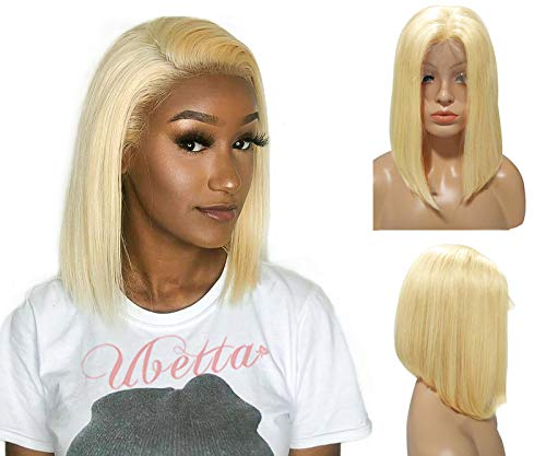 Amazon Com Blonde Wig Short Bob Human Hair Pre Plucked 613 Lace Front Wig Glueless 13x4 Lace Bob Straight Wig Brazilian Virgin Hair Middle Part With Baby Hair For Black Women 180