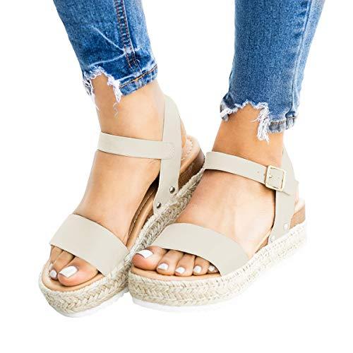 62e7ec87d80ee Nailyhome Womens Espadrilles Platform Sandals Open Toe Flat Heel Slingback  Ankle Strap Buckle Summer Shoes