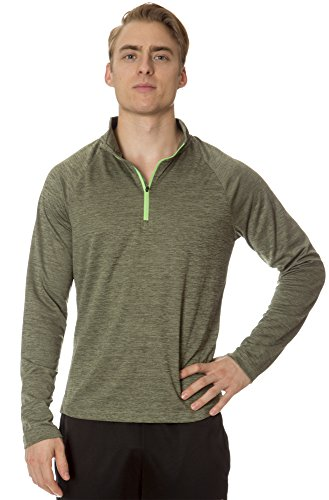 (L63227) Layer 8 Performance Mens Heather 1/4 Zip Layering Pullover in Army Green Size: L (Kirkland Department Store)