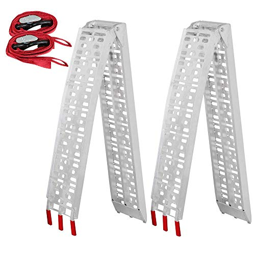 Yaheetech Pair 7.5' Aluminum Truck Ramps/ATV Ramps/Motorcycle Ramp/Loading Ramps for Lawn Mower/Pickup Trucks/Snow Blower 1500lb ()