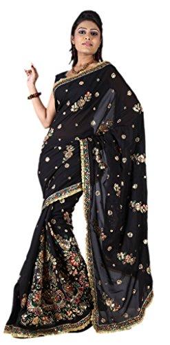 IndianAttire-Womens-Wedding-Partywear-Sequins-Embroidery-Saree-Sari-wrap-fabric