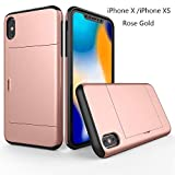 GAOAG Wallet Phone Case for iPhone X/iPhone Xs Heavy Duty Case with Dual