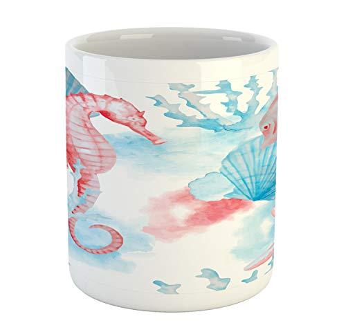 Lunarable Nautical Mug, Shells Sea Horse Corals Fish Sandy Beach Exotic Stylized Watercolor Effect, Printed Ceramic Coffee Mug Water Tea Drinks Cup, Coral Blue White