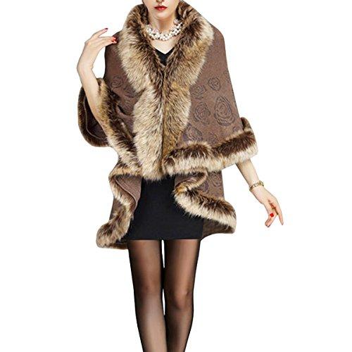 et Capes Ponchos Luxueux Chales Femmes KAXIDY Kaki de pour avec Manteaux Faux Fourrure Renard RfTxqEwtE