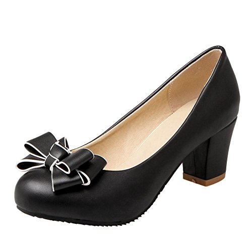 Sress on Bow Womens with Slip Mid Block Court Shoes Artfaerie Round Shoes Black Pumps Toe Sweet Heel 0xPdS