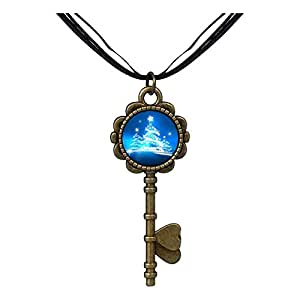 Chicforest Bronze Retro Style christmas tree Key to Her Heart Pendant