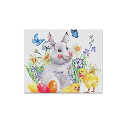 Jnseff Wall Art Painting Watercolor Vintage Happy Easter Greeting Card with Prints On Canvas The Picture Landscape Pictures Oil for Home Modern Decoration Print Decor for Living Room