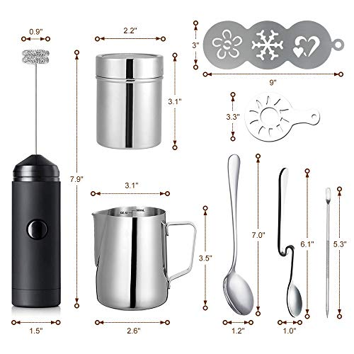 Milk Frother Handheld Foam Maker Latte Art Set for Cappuccino, with Stainless Steel Frothing Pitcher, Coffee Decorating Stencils, Latte Art Needle, Mix Spoon, Cocoa Powder Shaker