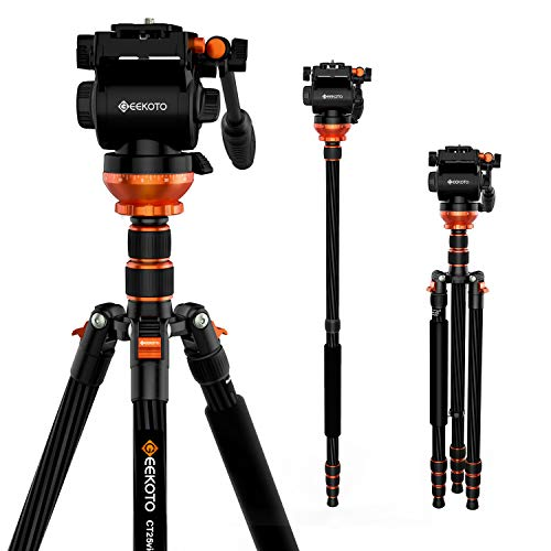 GEEKOTO 79 Inches Carbon Fibre Video Tripod with 1/4″ Screws and 3/8″ Spare Screws Fluid Drag Pan Head, Photography Tripod for DSLR Cameras Video Camcorders Load Capacity Up to 25 pounds