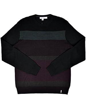 Calvin Klein Men's Colorblock Striped Ribbed Crewneck Sweater Dark Chestnut Medium