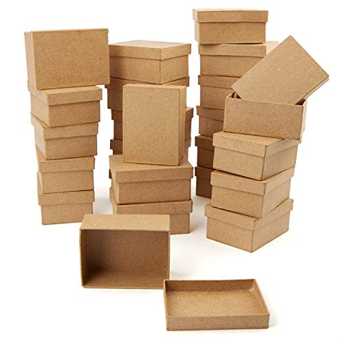 Factory Direct Craft Paper Mache Rectangle Shaped Boxes | 24 Box Set -