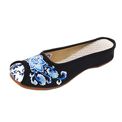ca6ddf55cdcadd MaiYi Chinese Style Lotus Flower Embroidery Canvas Mule Slippers - Soft  Slip-On Casual Round