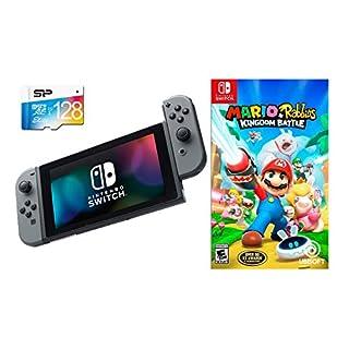 Nintendo Switch Mario + Rabbids Kingdom Battle Bundle: 32GB Console Gray Joy-con, 128GB Micro SD Card with Game Disc-Mario + Rabbids Kingdom Battle