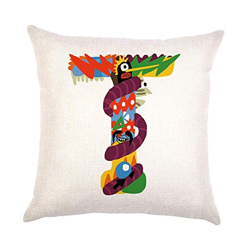 GJD Fashion Colorful Graffiti English Alphabet Square Linen Pillow Case Halloween Home Decor -17.72