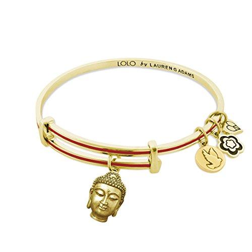 Lauren G Adams Lolo Expandable Bangle Buddha charm (White, gold-plated-brass)