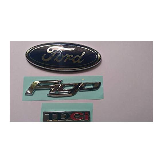 PINZU Rear Side (Set of 3) Logo KIT for Ford FIGO car Monogram Emblem Chrome Family Pack Complete 3D Decals Sticker