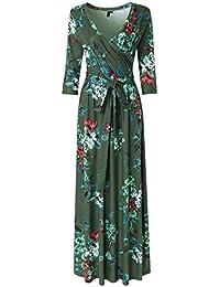 Womens 3/4 Sleeve Floral Print Faux Wrap Long Maxi Dress...