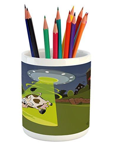 - Ambesonne Cartoon Pencil Pen Holder, Farm Warehouse Grass Fences Cow Alien Abduction Funny Comics Image Artwork Print, Printed Ceramic Pencil Pen Holder for Desk Office Accessory, Multicolor