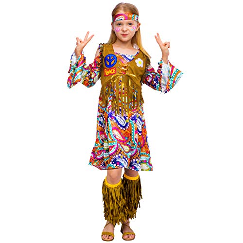 Throwback Costume Ideas (Peace Love 60s/70s Happy Hippie Girl Costume with Hippie Accessories for Kids (Small (5-7yr)))