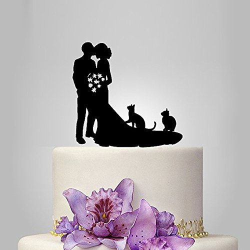 Acrylic Couple And 2 Cats Wedding Cake Topper/Wedding Stand/Wedding Decoration Wedding Cake Accessories Marriage