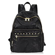 Hynes Victory Fashion Girls Nylon College School Backpack Studded Daypacks for Women Black Camo