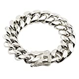 W&W Lifetime Heavy Mens Bracelet Chain 316L Stainless Steel Platinum Plated 18mm Punk Curb Cuban Hip Hop Link, 8.66''