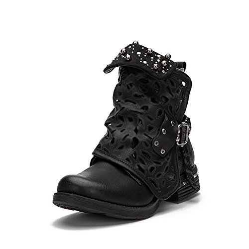 Black Rhinestone Boots Ankle for Women Cowboy Combat Boots Leather Low Chunky Heel Biker Shoes