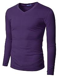 Doublju Mens Long Sleeve V-Neck Slim Fit Cotton T-Shirts VIOLET SMALL