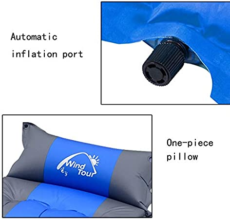 HOUMEL Inflatable Sleeping Mat With Pillow-Waterproof Camping Mattress,Portable /& Splicable Inflating Single Bed For Outdoor Backpacking Hiking Mat Travel