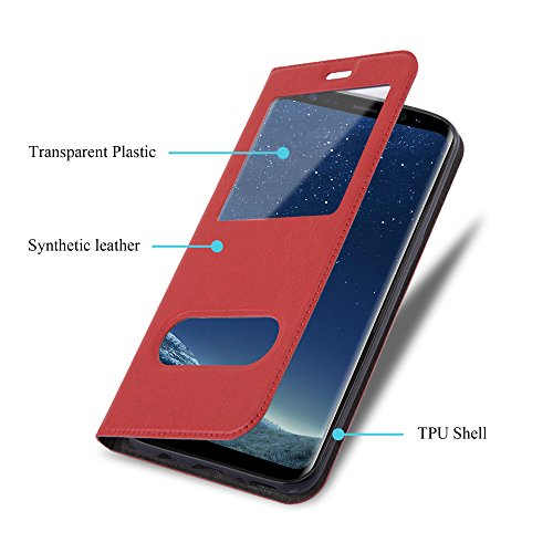 Cadorabo - Funda Book Style de Cuero Sintético en Diseño View para >                                              Samsung Galaxy S8                                              < con Imán Invisible, Función de Soporte y Doble Ventana �?Libro Etui Case Cover Carcasa Caja Protección in NEGRO ROJO-AZRAFÁN