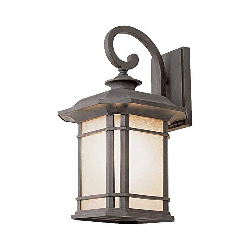 (Windsor Home Deco WH-63497 A Metal Wall Sconce, Outdoor Waterproof Wall Lamp with Glass Lampshades for Courtyard Front Door Garden, Wall Sconce Lighting Black)