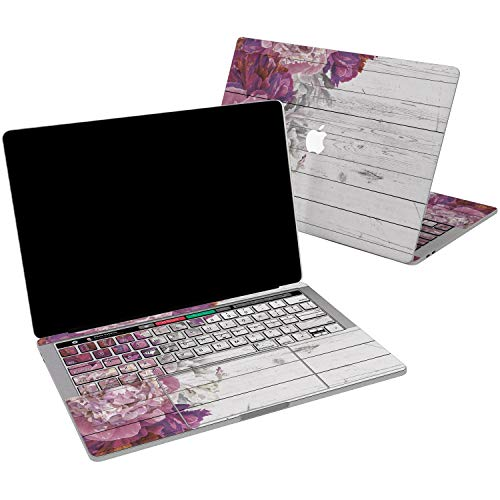 Lex Altern Vinyl Skin for MacBook Air 13 inch Mac Pro 15 Retina 12 11 2019 2018 2017 2016 2015 White Wood Pink Peony Flower Spring Feminine Laptop Cover Keyboard Decal Sticker Touch Bar Design Girl