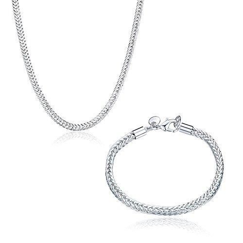 925 Silver Flat Snake Necklace Flat Snake Bracelet Set - 1